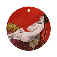 Woman On Red Sofa Ornament (Round)