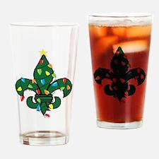 Fleur De Lis Christmas Drinking Glass