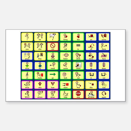 7 by 7 Core Word Communication Board - AAC Decal