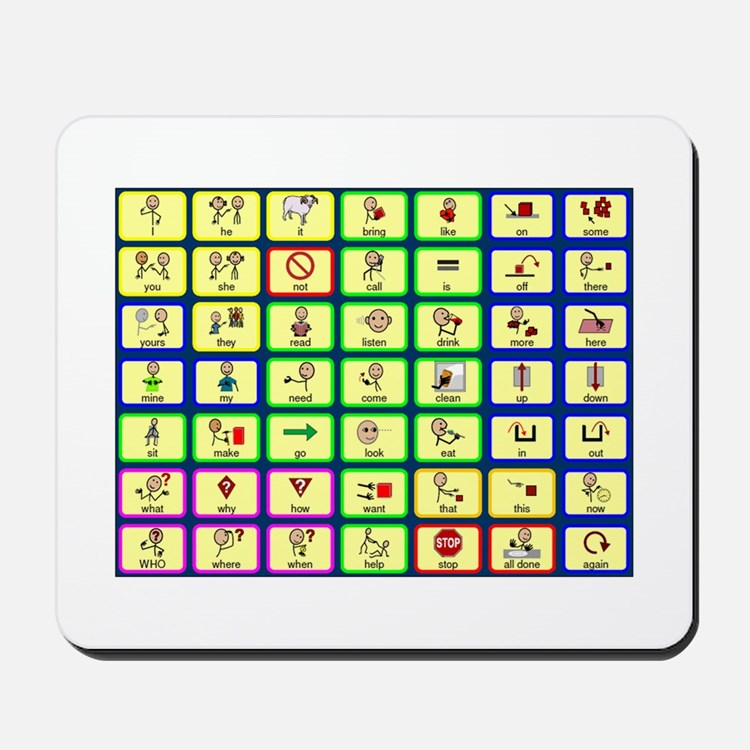 7 by 7 Core Word Communication Board - AAC Mousepa