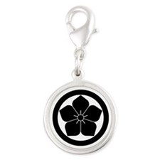 Balloon flower in circle Silver Round Charm