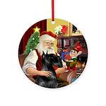 Santa's Black Giant Schnauzer (cr)Ornament (Round)