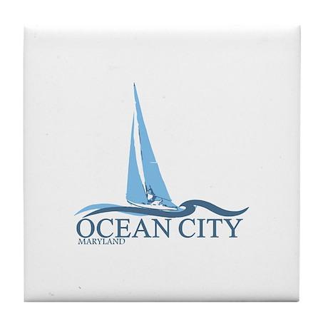 Ocean City MD - Sailboat Design. Tile Coaster