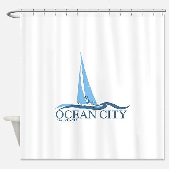 Ocean City MD - Sailboat Design. Shower Curtain