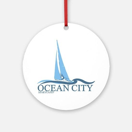 Ocean City MD - Sailboat Design. Ornament (Round)