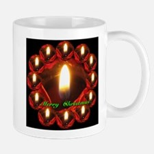 Merry Christmas Rose Candle Wreath Mug