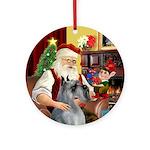 Santa's Giant Schnauzer (P/S) Ornament (Round)