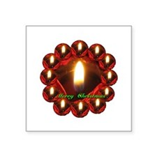 Merry Christmas Rose Candle Wreath Square Sticker