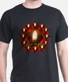 Merry Christmas Rose Candle Wreath T-Shirt