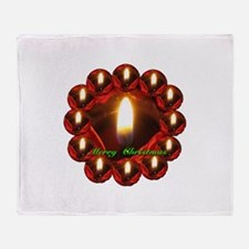Merry Christmas Rose Candle Wreath Throw Blanket