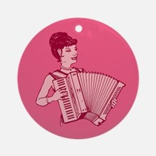 Retro Accordion Lady Pink Ornament (Round)