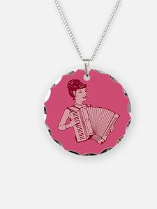 Retro Accordion Lady Pink Necklace