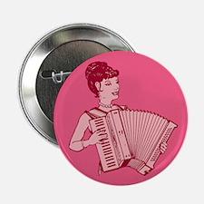 "Retro Accordion Lady Pink 2.25"" Button"