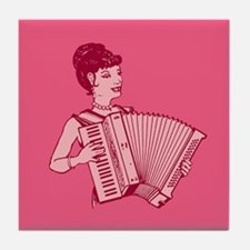 Retro Accordion Lady Pink Tile Coaster