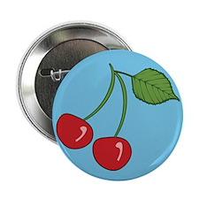 "Retro Cherries Blue 2.25"" Button"