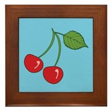 Retro Cherries Blue Framed Tile