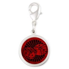 Retro Red Dice Silver Round Charm