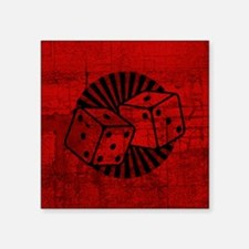 "Retro Red Dice Square Sticker 3"" x 3"""