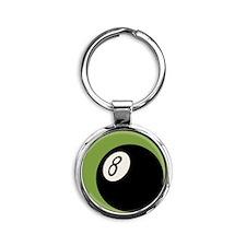 Retro 8-Ball Round Keychain