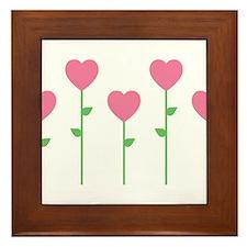 Heart Flowers Framed Tile