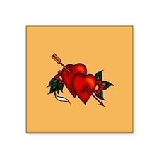 """Retro Tattoo Arrow Hearts Square Sticker 3"""" x 3"""""""