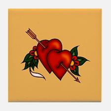Retro Tattoo Arrow Hearts Tile Coaster