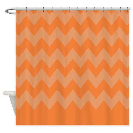 Orange And White Stripes Shower Curtain By Chevroncitystripes