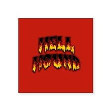 "Retro Hell Hound Square Sticker 3"" x 3"""