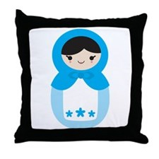 Matroshka Doll - Sweet Blue Throw Pillow
