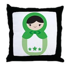 Matryoshka Doll - Peppermint Green Throw Pillow
