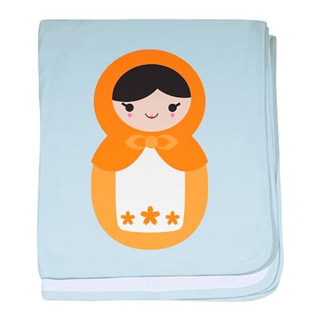 Matryoshka Doll - Orange baby blanket