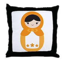 Matryoshka Doll - Orange Throw Pillow