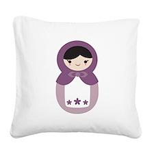 Matryoshka Doll - Grape Purple Square Canvas Pillo