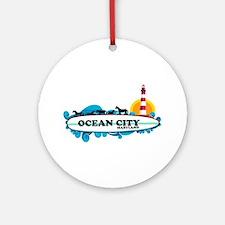 Ocean City MD - Surf Design. Ornament (Round)