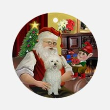 Santa's Happy White Poodle Ornament (Round)
