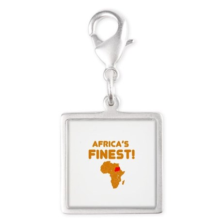 Sudan map Of africa Designs Silver Square Charm