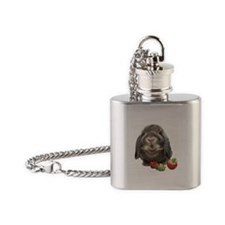 Bunny and strawberries Flask Necklace