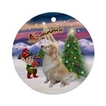 Santa's Takeoff & Golden (B) Ornament (Round)