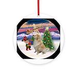 Santa's Takeoff & Golden (B) Ornament (Round)