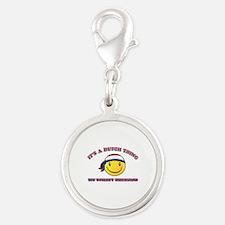 Dutch Smiley Designs Silver Round Charm