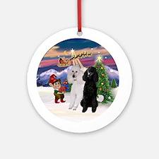 Santa's Take off & 2 Poodles (ST) Ornament (Ro