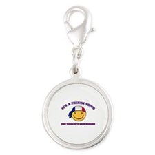 French Smiley Designs Silver Round Charm