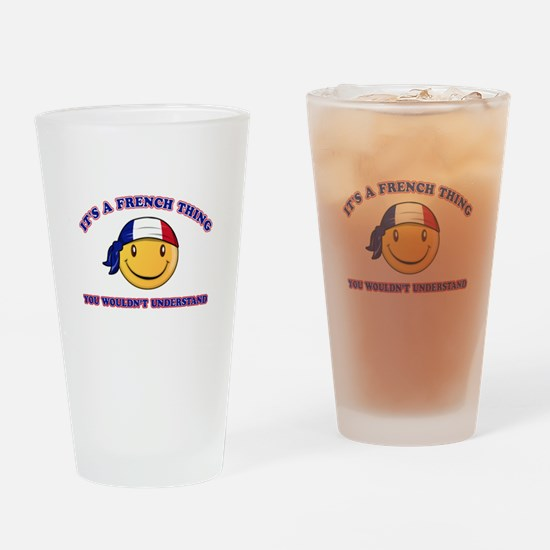 French Smiley Designs Drinking Glass