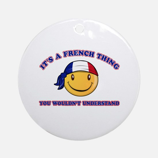 French Smiley Designs Ornament (Round)