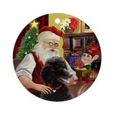 Santa's Black Standard Poodle Ornament (Round)