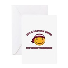 Latvian Smiley Designs Greeting Card