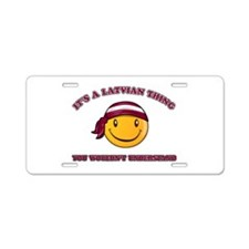 Latvian Smiley Designs Aluminum License Plate