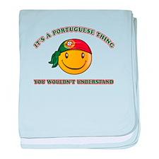 Portuguese Smiley Designs baby blanket