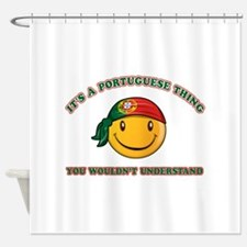 Portuguese Smiley Designs Shower Curtain