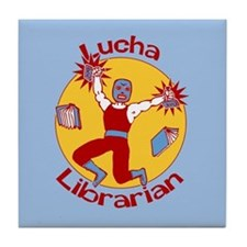 Lucha Librarian Tile Coaster